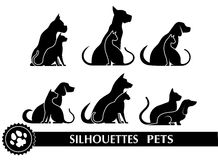 Silhouettes of pets Royalty Free Stock Photography