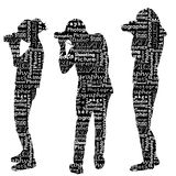 Silhouettes of photographers with messages words on the topic of. Photography Royalty Free Stock Image