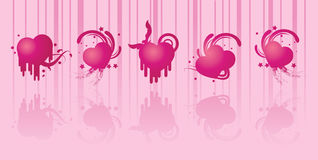 Silhouettes pink love Royalty Free Stock Photo