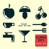 Silhouettes of pixel icons food and drink Stock Photo