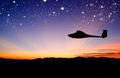 Silhouettes plane fly Royalty Free Stock Photo