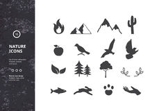 Silhouettes of Plants, Animals and Nature. Set of 16 Vector Graphic Icons. Collection of Silhouettes of Plants, Animals and Nature. Hipster Style Design for Stock Photography