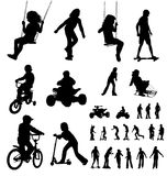 Silhouettes playing children Stock Image