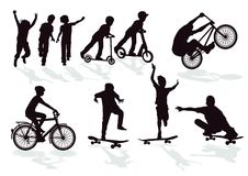 Silhouettes of playing children vector illustration