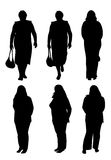 Silhouettes of plump women Stock Photos