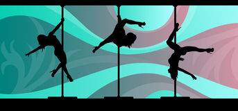 Silhouettes of pole dancers on abstract background. Black vector silhouettes of female pole dancers performing pole moves on abstract background Royalty Free Stock Image