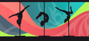 Silhouettes of pole dancers on abstract background. Black vector silhouettes of female pole dancers performing pole moves on abstract background Royalty Free Stock Photography