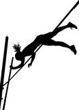 Silhouettes - Pole Vaulting royalty free stock photography