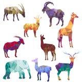Silhouettes polygonales des animaux illustration de vecteur