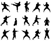 Silhouettes of positions of the karateka. Set of black silhouettes of the person on a white background in style in karate great for your design Stock Photography