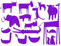 Silhouettes pourprées animales sur le blanc Illustration Stock