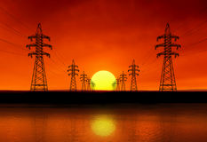 Silhouettes of power lines. Stock Images