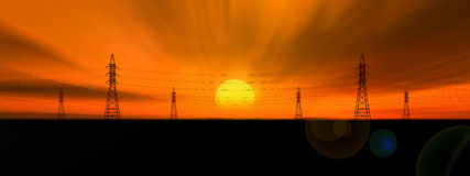 Silhouettes of power lines. Royalty Free Stock Photo