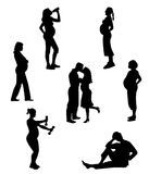 Silhouettes of pregnant women Royalty Free Stock Image