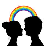 Love at first sight. Silhouettes of a profile of a head of the young men and the girl Royalty Free Stock Photography