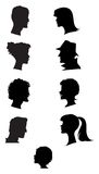 Silhouettes of profiles. Silhouettes of men, women and a child faces Royalty Free Stock Photography