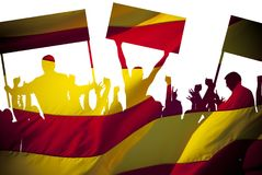 Silhouettes of protesting people against the the flag of Barcelona on white background. Isolated. People are on strike. Independence of the catalonia Stock Photos