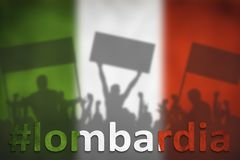 Silhouettes of protesting people against the the flag of Italy with hashtag Lombardia. Referendum in Italy Royalty Free Stock Photo