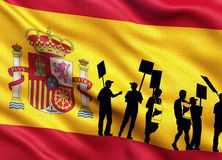 Silhouettes of protesting people on the flag of Spain stock illustration