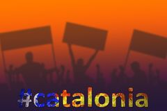 Silhouettes of protesting people. Spain, Catalonia crisis. Silhouettes of protesting people. Political concept. Spain, Catalonia Referendum. Hashtag filled with Stock Images