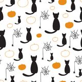 Black cats and pumpkins seamless vector pattern for Halloween Royalty Free Stock Image