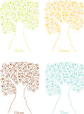 Silhouettes quatre-saisons d'arbres des spirales Images libres de droits