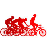 Silhouettes of racers on a bicycle, fight at the finish line Stock Photography