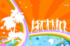 Silhouettes and rainbow Stock Photos