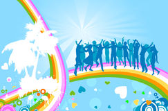 Silhouettes and rainbow. Silhouettes on abstract design with rainbow Stock Images