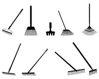 Silhouettes of rake Stock Photos