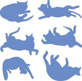 Silhouettes of a reclining cat blue. Silhouettes of cats, clip, icon on white background Stock Photo