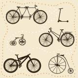 silhouettes réglées de bicyclette Photos stock