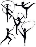 Silhouettes rhythmiques de gymnaste Photo libre de droits