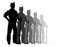 Silhouettes of riflemens. Black silhouettes of riflemens isolated on white Stock Photography