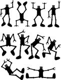 Silhouettes Robots In Action. Set of robots in various active poses Stock Photos