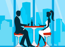 Silhouettes of romantic couple in love meeting Royalty Free Stock Image