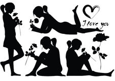 Silhouettes of romantic young girl with rose Stock Photography