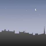 Silhouettes roofs at dawn, vector illustration Royalty Free Stock Photography
