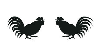 Silhouettes of roosters on white. Black silhouettes fighting on a white background. Symbol of Chinese horoscope and folklore personage. Vector illustration stock illustration