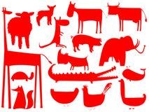 Silhouettes rouges animales d'isolement sur le blanc Illustration Stock