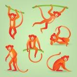 Silhouettes rouges de singes illustration libre de droits