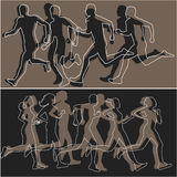 Silhouettes of runners Royalty Free Stock Images