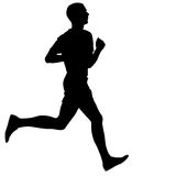 Silhouettes. Runners on sprint, men. Stock Images