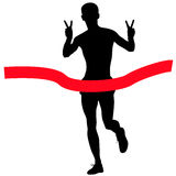 Silhouettes. Runners on sprint, men. vector illustration Royalty Free Stock Photo