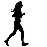 Silhouettes. Runners on sprint, women. vector Royalty Free Stock Photo