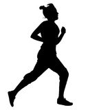 Silhouettes. Runners on sprint, women. vector Stock Photos