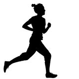 Silhouettes Runners on sprint, women. vector illustration Royalty Free Stock Photography
