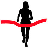 Silhouettes. Runners on sprint, women. vector illustration Royalty Free Stock Photo