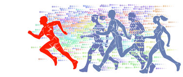 Silhouettes of running athletes Stock Image