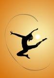 Silhouettes rythmiques de gymnastes Photos libres de droits